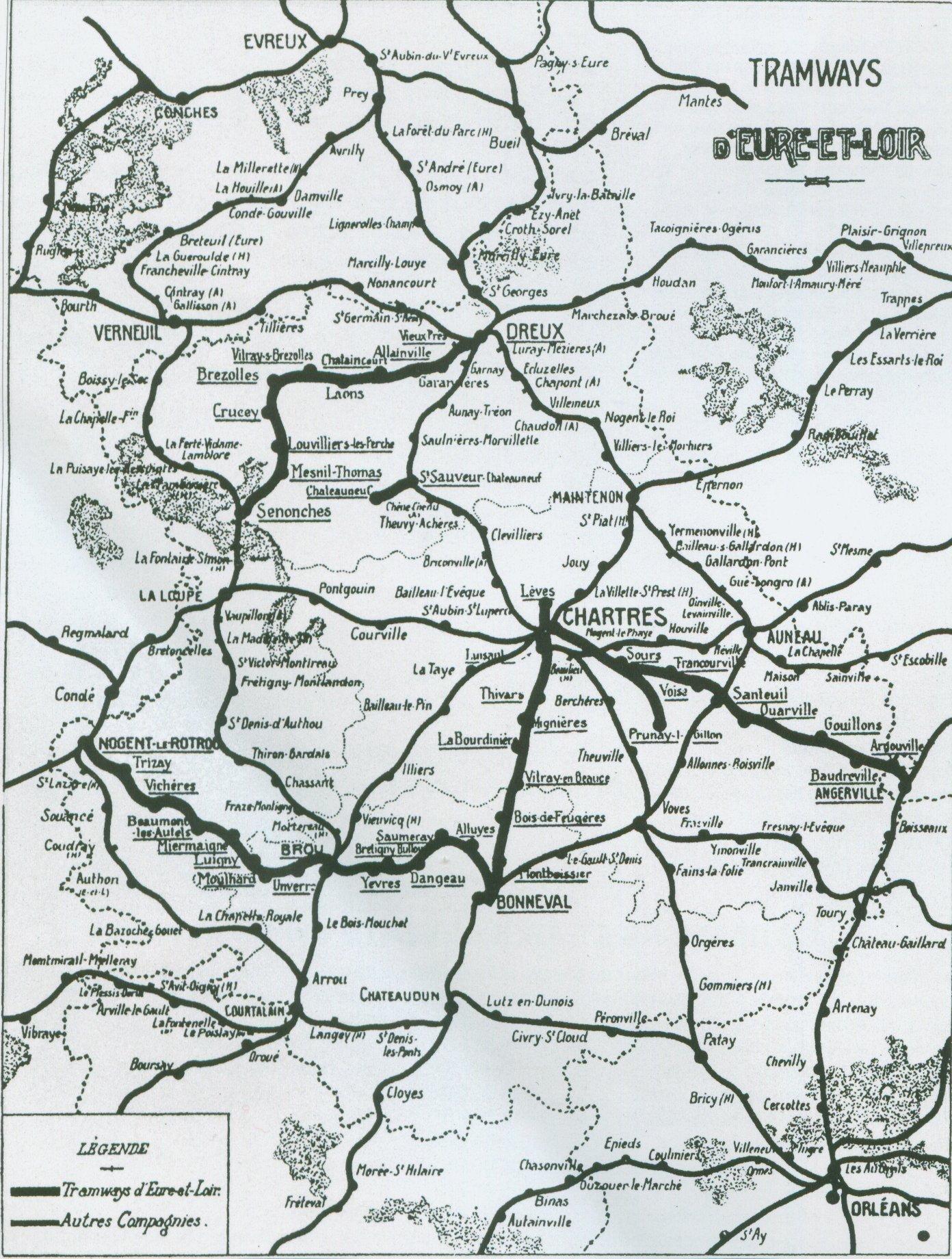 Carte des tramways d'Eure et Loir en 1914