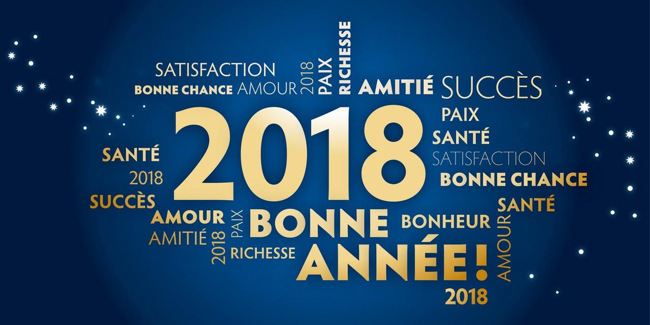 Carte de voeux – bonne année 2018- bleu et dorée - prendre de bonnes résolutions